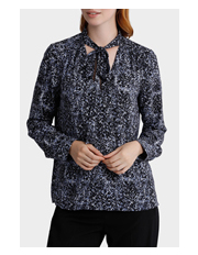 Basque - Splatter Print Tie Neck Low Vee Print Blouse
