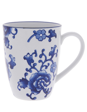 Blue Collage Floral Mug