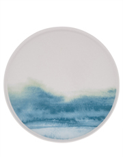 Blue Washed Rimmed Glazed Dinner Plate 27cm