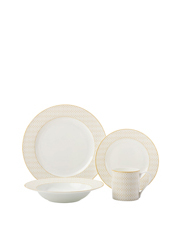 MAXWELL & WILLIAMS Cashmere Nocturne 16 Piece Dinner Set, Gift Boxed - White & Gold