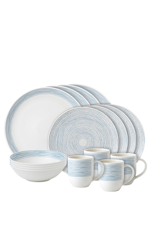 Ellen DeGeneres for Royal Doulton - TW Dots 16 Piece Dinnerset Polar Blue