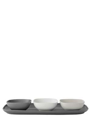 Maxwell & Williams - Elemental Rectangle Platter And 3 Square Bowl Set Gift Boxed
