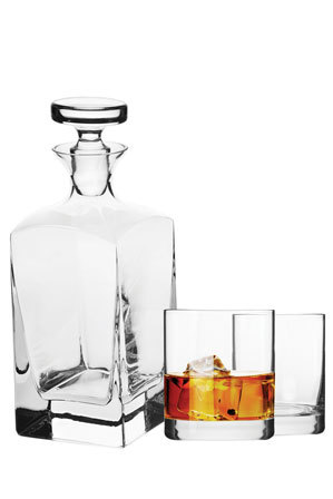 Krosno - Vinoteca Scotch Decanter, 3 Piece Set Gift Boxed