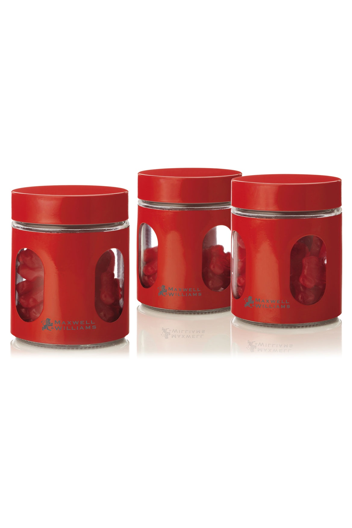 Maxwell & Williams  Cosmopolitan Colours Canister Set 3 Gift Boxed, 600ml   Red  Myer Online