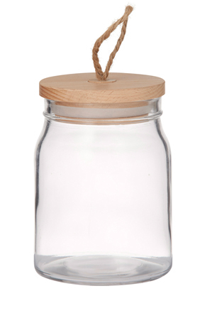 Pantry - Round Glass Canister with Beech Wood Lid, 750ml