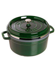 Cast Iron 26cm/5.2L Round Cocotte With Steamer - Basil Green: Made in France