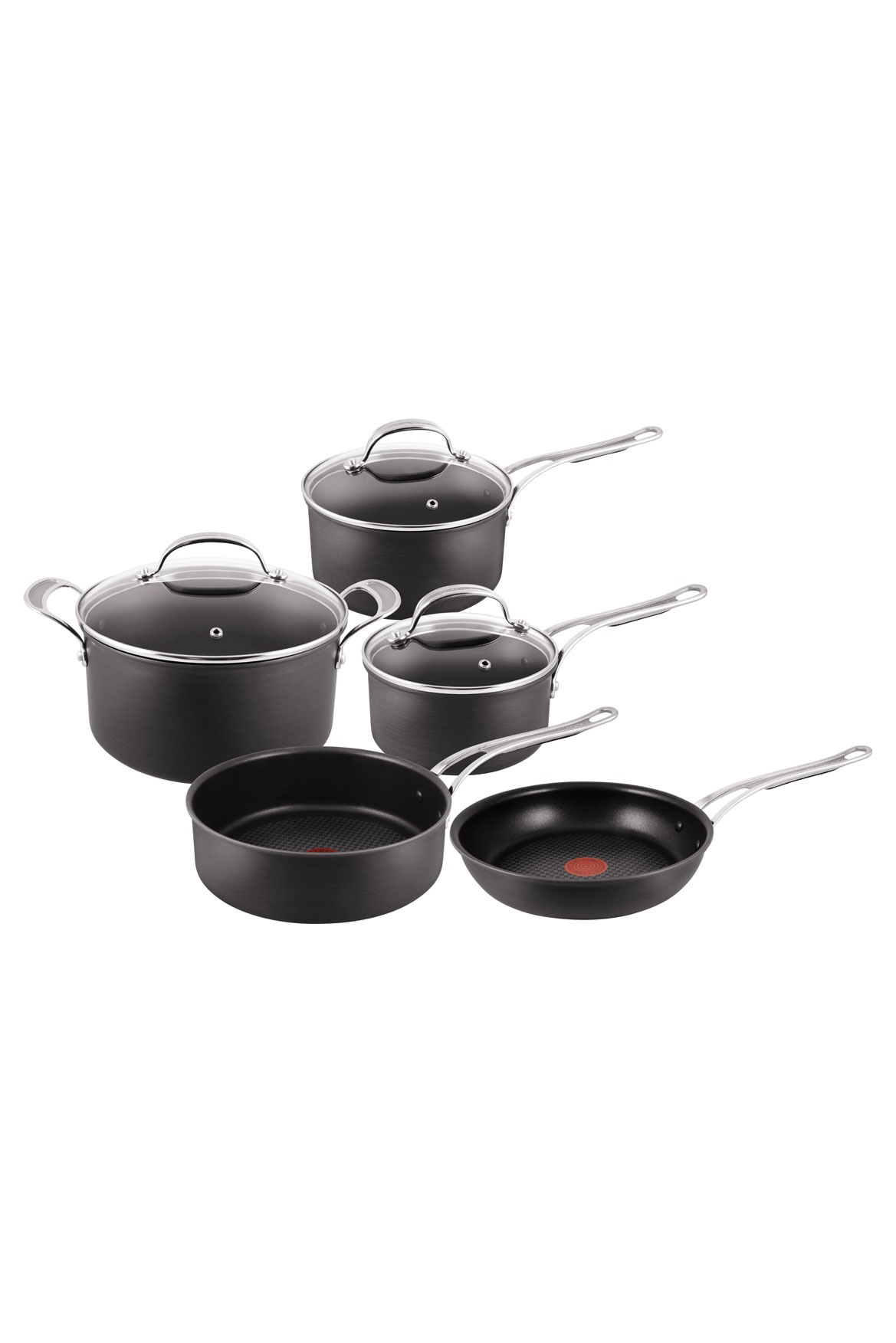 jamie oliver tefal hard anodised 5 piece set myer online. Black Bedroom Furniture Sets. Home Design Ideas