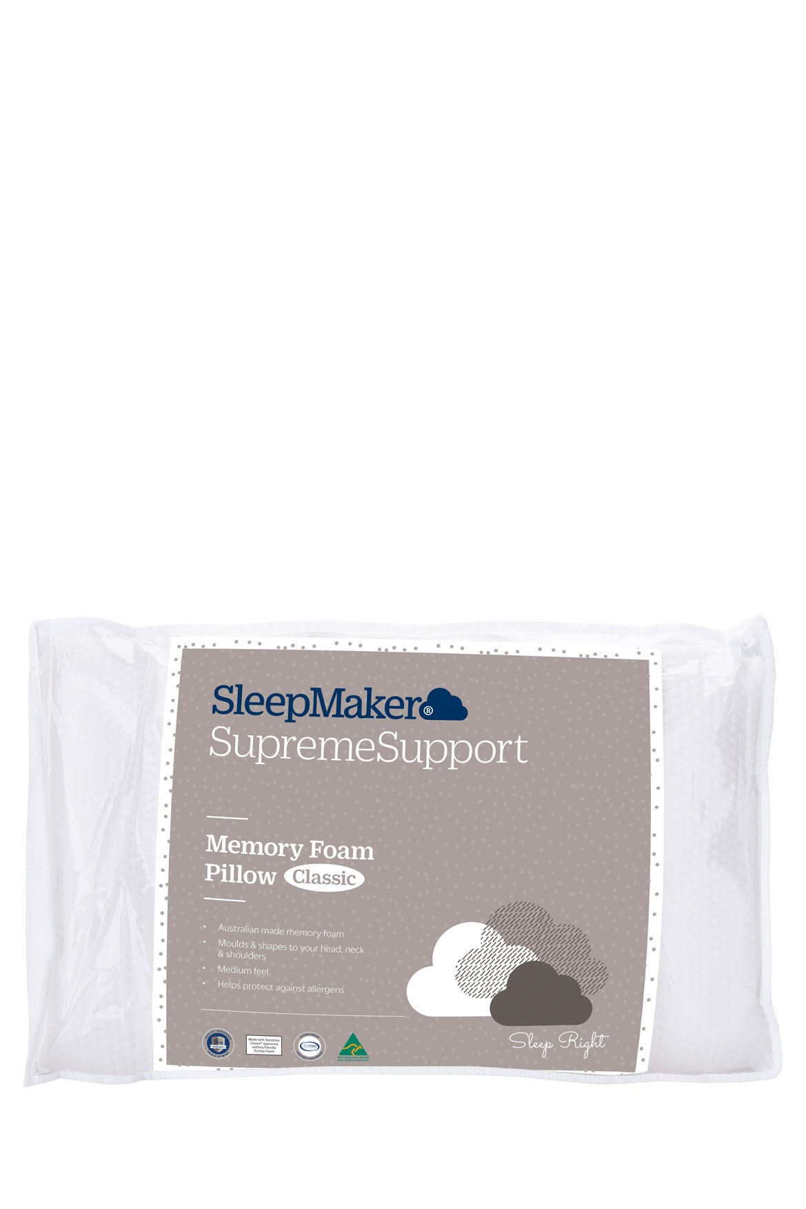 Spa Supreme Traditional Memory Foam Pillow : Sleepmaker Supreme Support Classic Memory Foam Pillow Myer Online