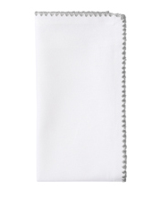 Heritage - Silver Embroidered Stitch Edge Cotton Napkin, Set of 4