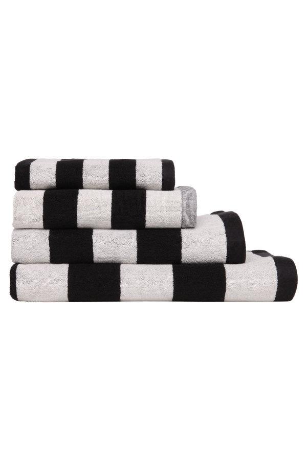 Aura by Tracie Ellis Stripes Towel Range in Black Myer Online