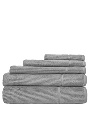 Combed Cotton Ribbed Towel Range in Silver