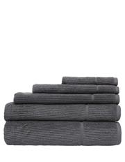 Combed Cotton Ribbed Towel Range in Charcoal