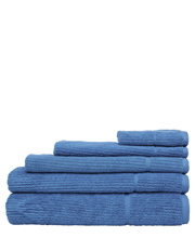 Combed Cotton Ribbed Towel Range in Denim