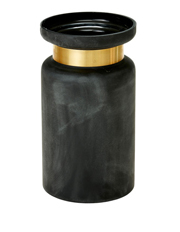 Salt&Pepper - Dubai 10 x 32cm black glass vase with brass band