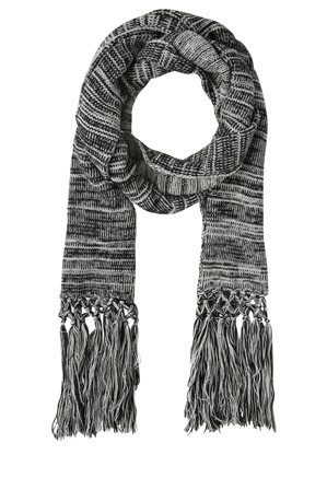 Miss Shop - Knitted Black Mix Long Tassel Scarf