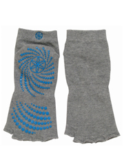 Gaiam - Toeless Yoga Socks - Heather Grey / Blue