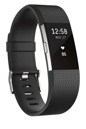 Fitbit - Charge 2 Heart Rate + Fitness Wristband (Black/Silver) - Large