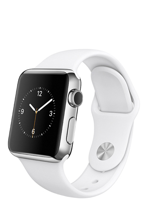Apple - Apple Watch 38mm Stainless steel case with White Sport band