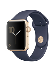 Apple - Apple Watch Series 2 42mm Gold Aluminium Case with Midnight Blue Sport Band MQ152X/A