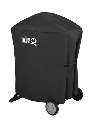 Weber - Q/ Baby Q with Portable Cart Full Length Premium Cover: Black: 7113