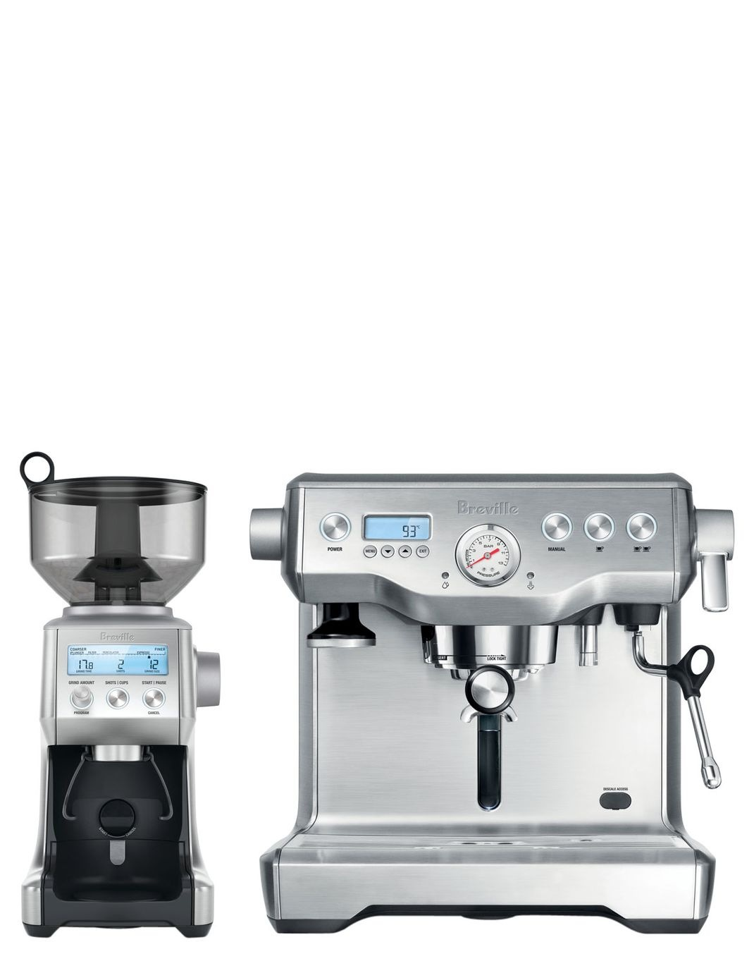 Breville BEP920BSS Dynamic Duo Espresso Maker & Coffee Grinder Pack: Stainless Steel Myer Online