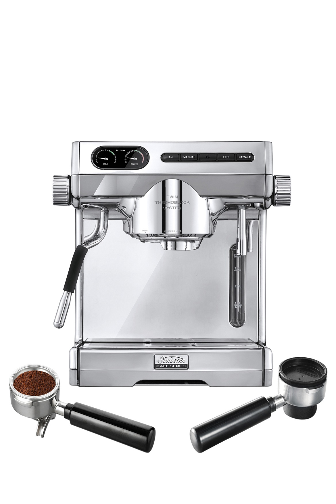 sunbeam em7100 caf series espresso machine plus multi capsule handle stainless polished. Black Bedroom Furniture Sets. Home Design Ideas