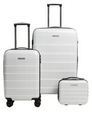 Metro 2 Piece Hardside Spinner Large & Cabin Set with Bonus Accessory Case - White