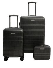 Metro 2 Piece Hardside Spinner Large & Cabin Set with Bonus Accessory Case - Charcoal