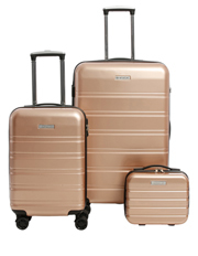 Metro 2 Piece Hardside Spinner Large & Cabin Set with Bonus Accessory Case - Champagne