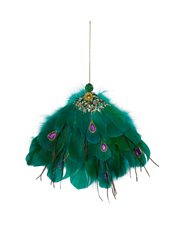 Holiday Opulence Feather Peacock Tail - Green