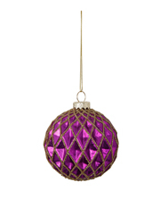 Holiday Opulence Glass Bauble with Gold Glitter Hollows - Purple