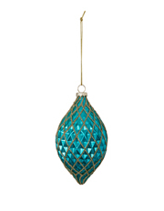Holiday Opulence Glass Finial with Gold Glitter Hollows - Turquoise