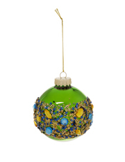 Holiday Opulence Glass Shiny Bauble with Gems - Green