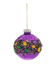 Holiday Opulence Glass Shiny Bauble with Gems - Purple