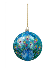 Holiday Opulence Glass Disc Peacock - Blue