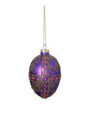 Holiday Opulence Glass Egg Bauble with Glitters Crosses and Gems - Purple