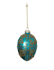 Holiday Opulence Glass Egg Bauble with Glitters Crosses and Gems - Green