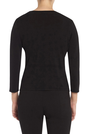 David Lawrence - Agnese Pointelle Knit Crop Sleeve Cardigan