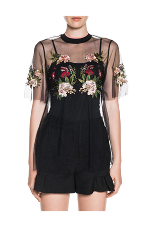 Cue - Embroidered Floral Tulle Top
