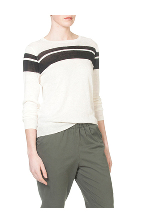 Skin and Threads - Linen Placement Stripe Crew
