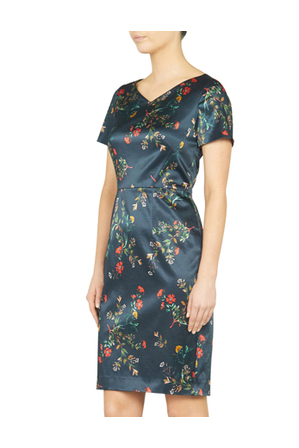 David Lawrence - Wild Flower Print Satin Dress