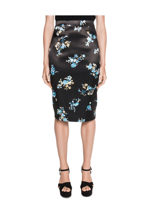 Cue - Satin Floral Pencil Skirt
