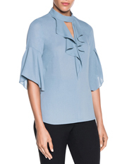 Frill Front Fluted Sleeve Top