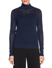 Mesh Stitch Funnel Neck Knit