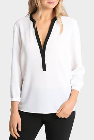 Tokito - Contrast Placket 3/4 Sleeve Top