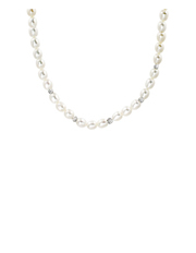 Pure Elements - 7-8mm Freshwater Pearl with Crystal Roundels Short Necklace