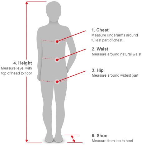 Measuring Guide - Kids - Chest, Waist, Hip, Height and Shoe